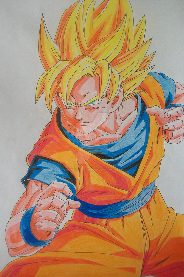 ''I'm ready!'' Super Saiyan Son Goku -colored-