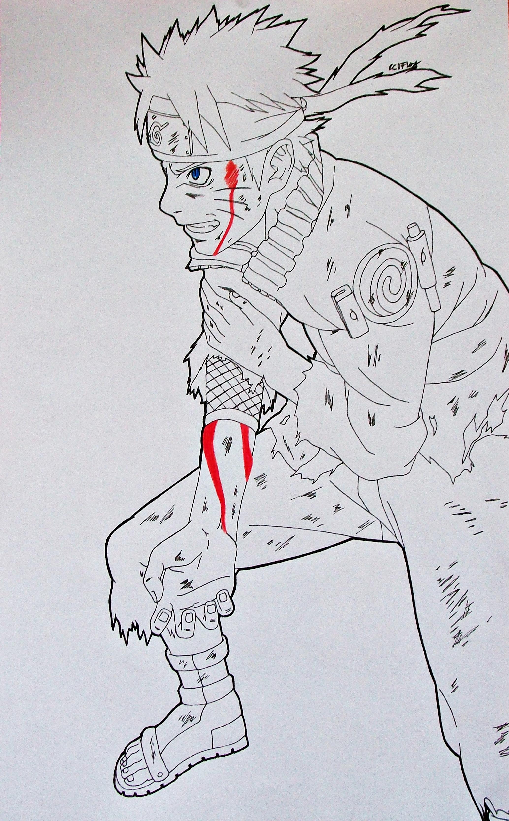 Naruto Lineart : Naruto uzumaki damaged lineart by sakakithemastermind