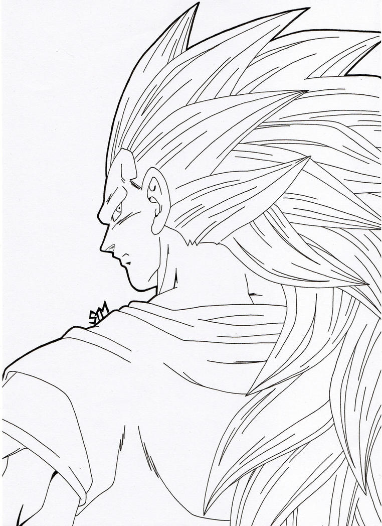 ''What Did You Say?!'' - SSJ 3 Goku (Lineart) by SakakiTheMastermind