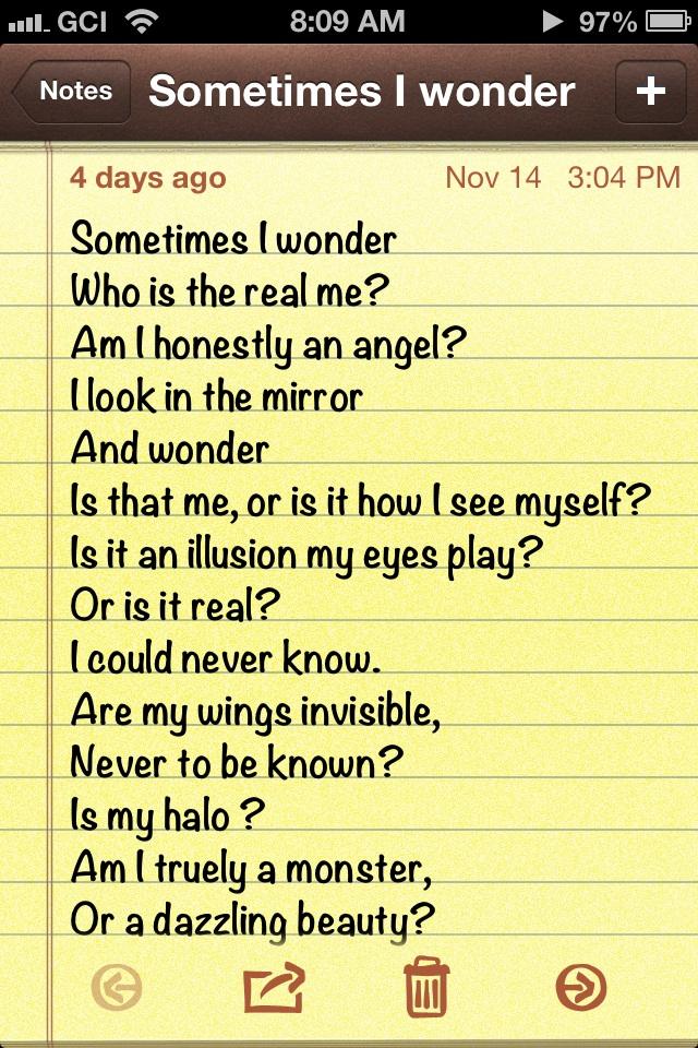 .:Poem:. Sometimes I wonder by MelinaThePoet
