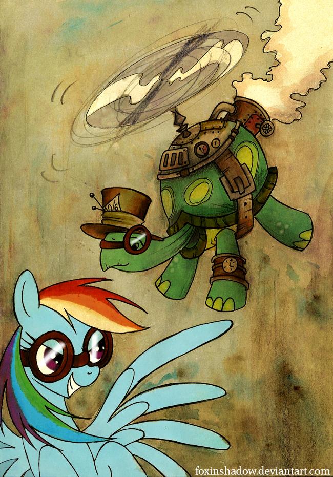Rainbow Dash loves steampunk tortoises by FoxInShadow