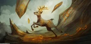 Dancing Mountain Deer by FoxInShadow