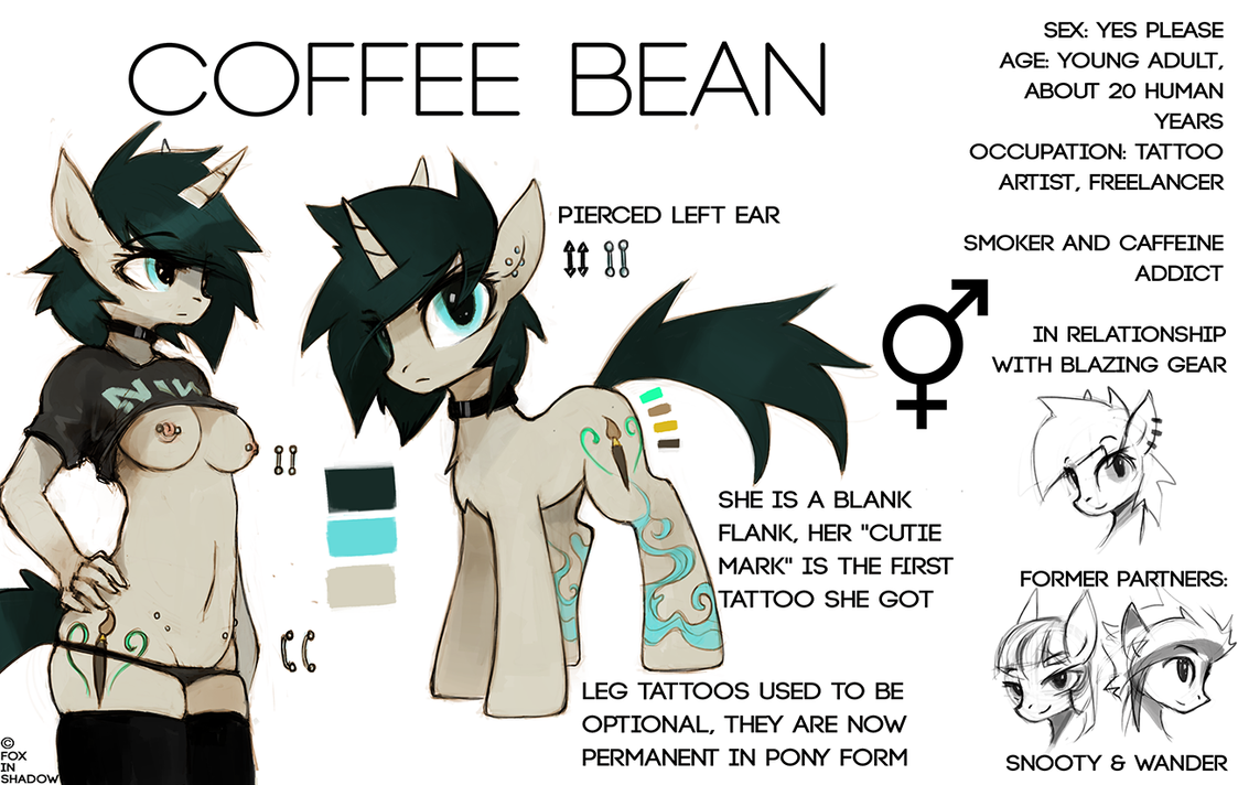 Coffee Bean updated reference sheet by FoxInShadow