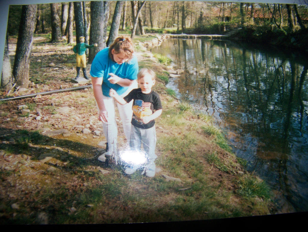 Me and my mom fishing at the trout farm 1990 by jhwink for Trout farm fishing near me