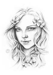 With Love In Her Eyes Zindy Drawing by Zindy
