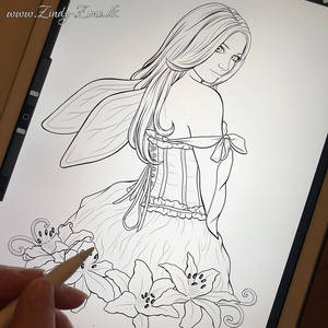 Stargazer Fairy coloring page in the making