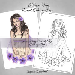 Hibiscus Fairy Free Coloring Page