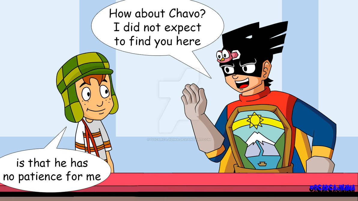 El Chavo and Capitan Escudo in catoon cafe