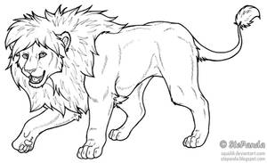 Free LineArt Adult Lion by StePandy