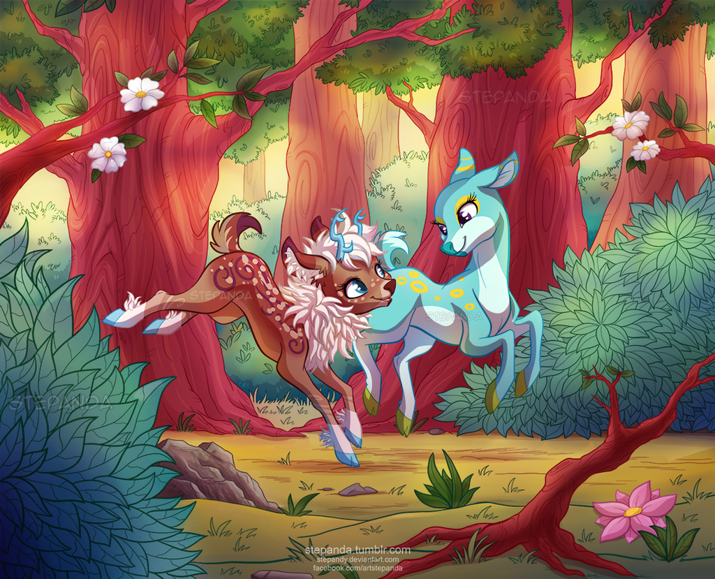 Deers in the Forest by StePandy