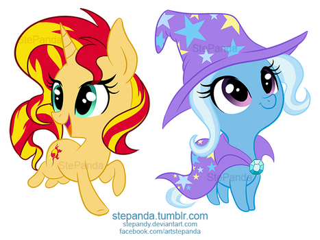 Sunset Shimmer and Trixie