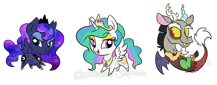 Luna Celestia and Discord by StePandy