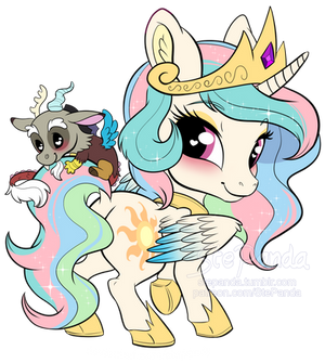 Princess Celestia and Discord chibi