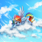 Rainbow Dash in the Clouds