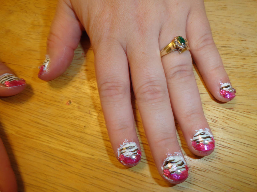 Sparkly Zebra Pink French Manicure W Rhinestones By Writes How She
