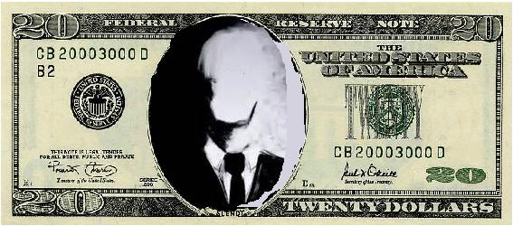 Dollar Man Slender Man 20 Dollar Bill 20