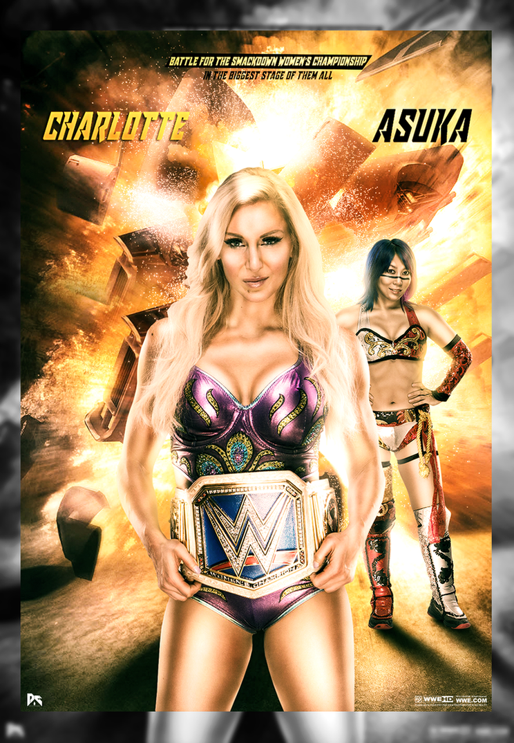Charlotte Flair Vs Asuka Wrestlemania 34 Poster by workoutf