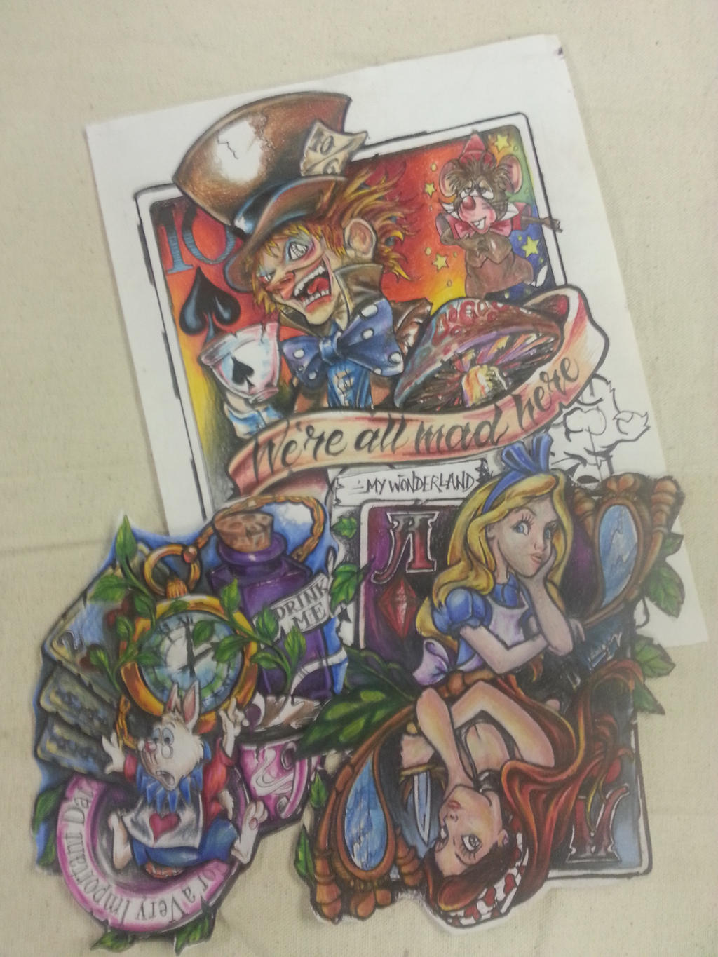 Alice in wonderland looking glass colored pencil by for Looking glass tattoos