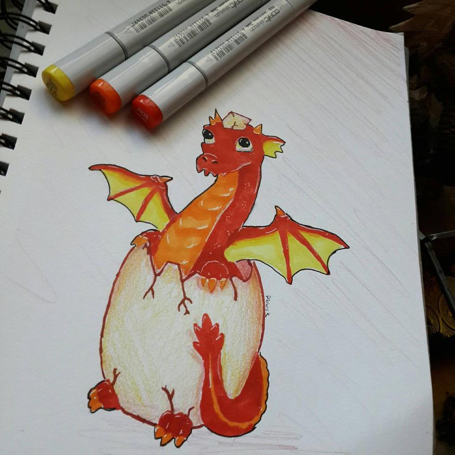 Copic Baby Dragon  by NecromancerDragonkin