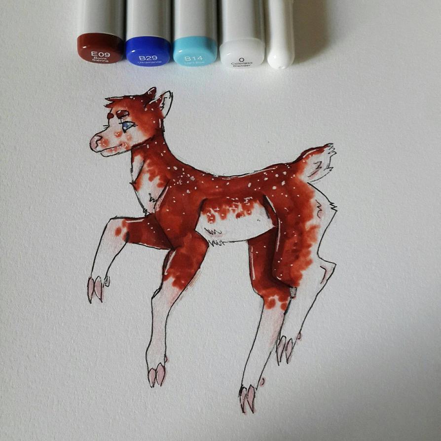 Copic Baby Deer by NecromancerDragonkin