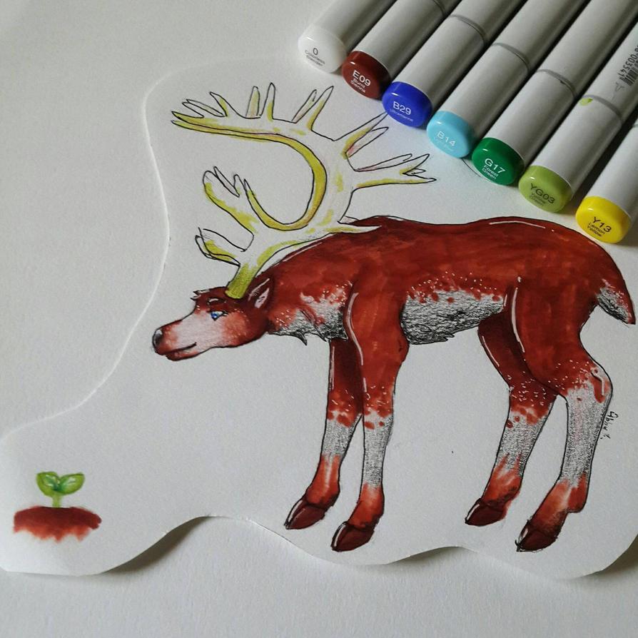 Copic Father Deer by NecromancerDragonkin