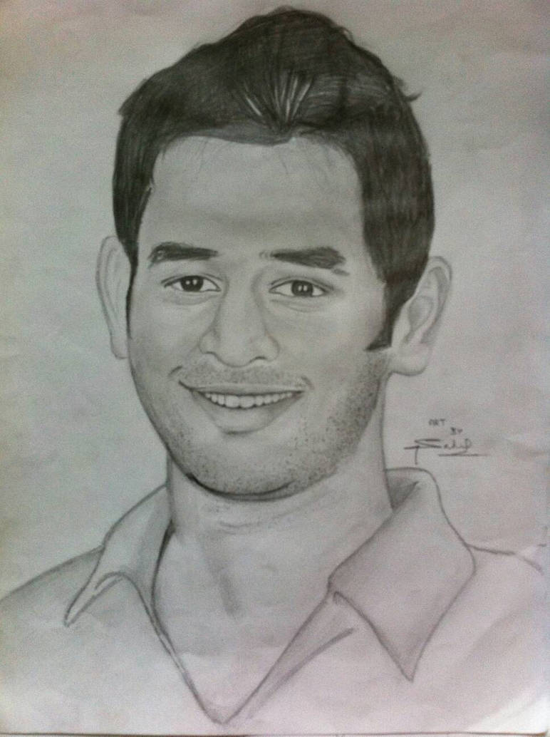 Pencil sketch of m s dhoni by sahil by sahilsketches