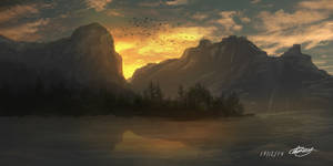 Mountain Lake speed painting by Greerillustration