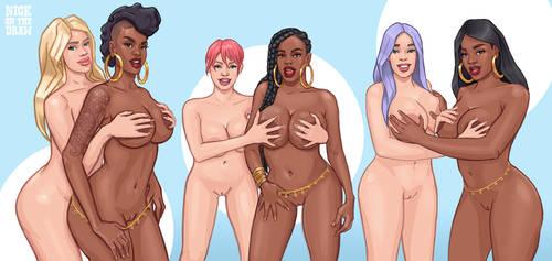 Interracial Handbra Triptych by nickonthedraw
