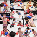 Victory of a beautiful girl boxer.