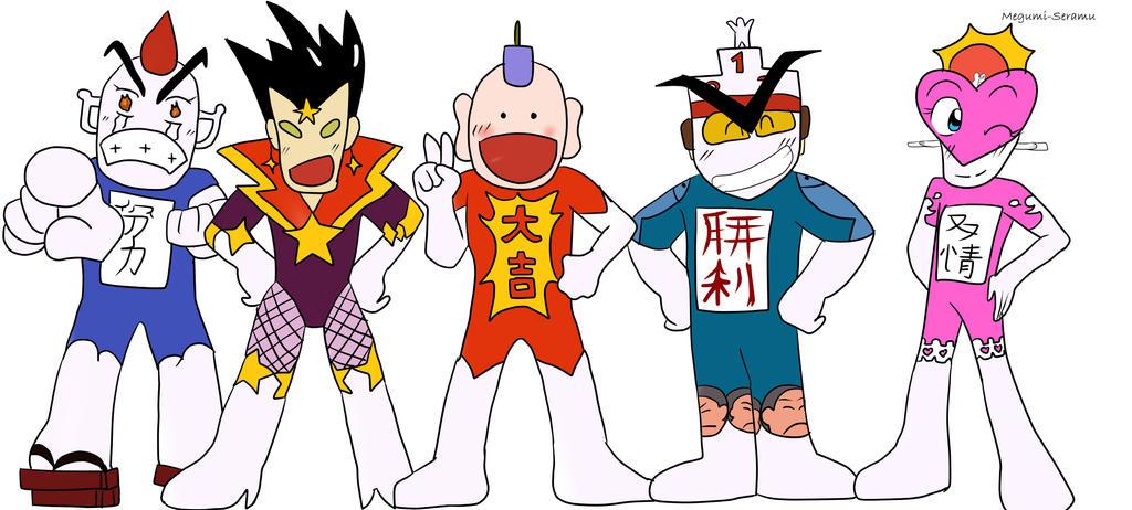 ラッキーマン、努力マン、スーパースターマン、勝利マン、友情マンが並んだとっても!ラッキーマンの壁紙