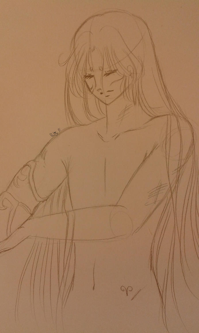 After the battle-Aries no Mu sketch by ariesnopatty