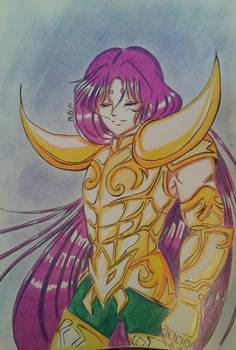 Aries Mu wearing gold cloth