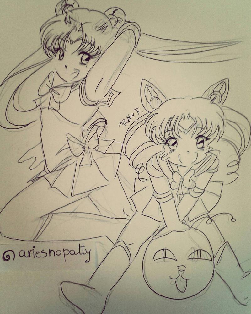 Sailormoon and Chibimoon by ariesnopatty