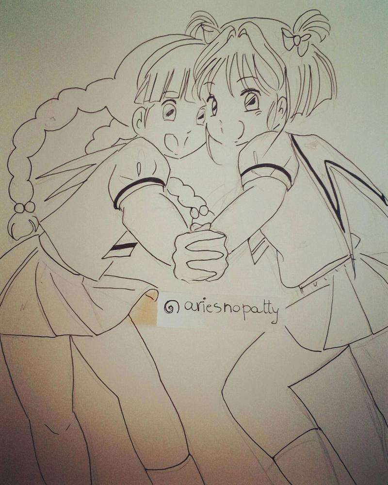 Cardcaptor Sakura and Tomoyo sketch by ariesnopatty