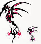 Tribal Dragon red+pink