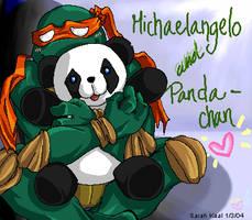 Michaelangelo loves his Panda by eeveelover