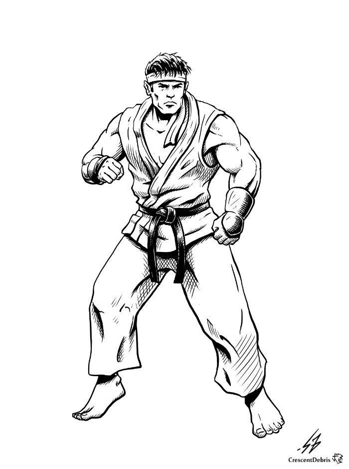 Street Fighter Ii Ryu Lines By Crescentdebris On Deviantart