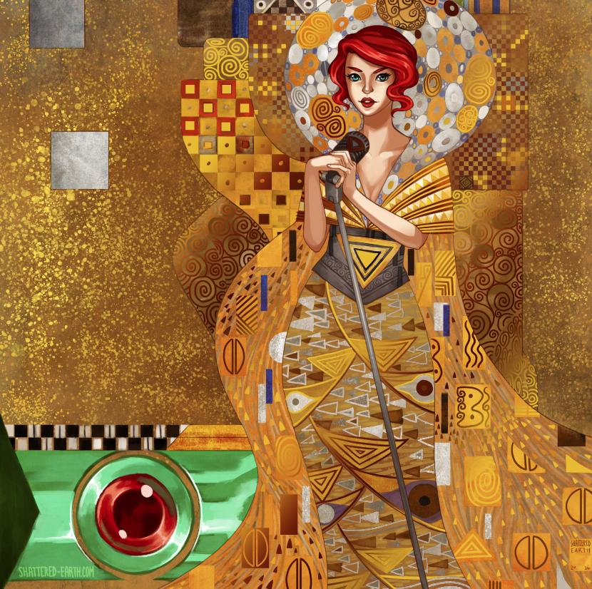 Klimt Transistor Gold Foil Print by Shattered-Earth