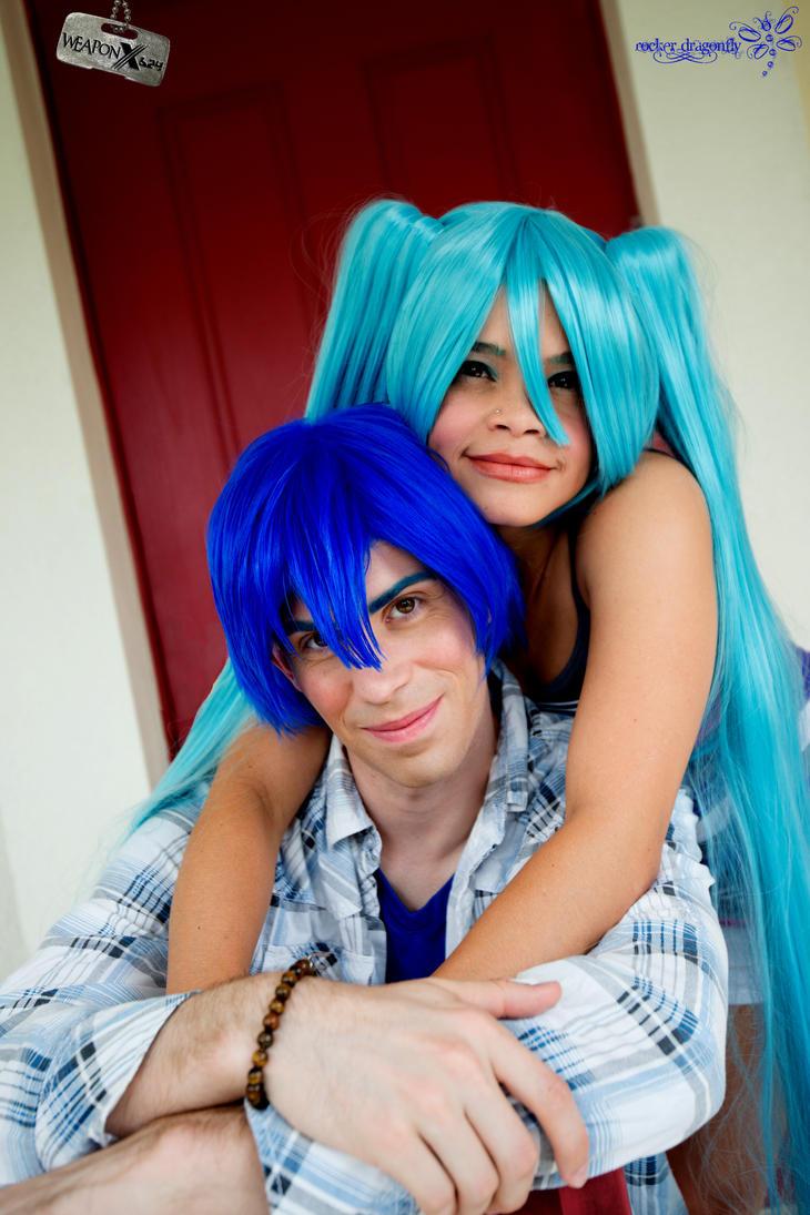 Cute Miku and Kaito !!! by RockerDragonfly