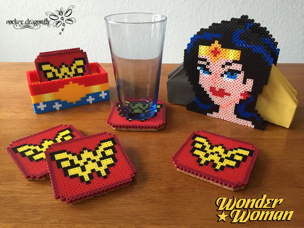 Wonder Woman Coasters and Napkin Holder by RockerDragonfly