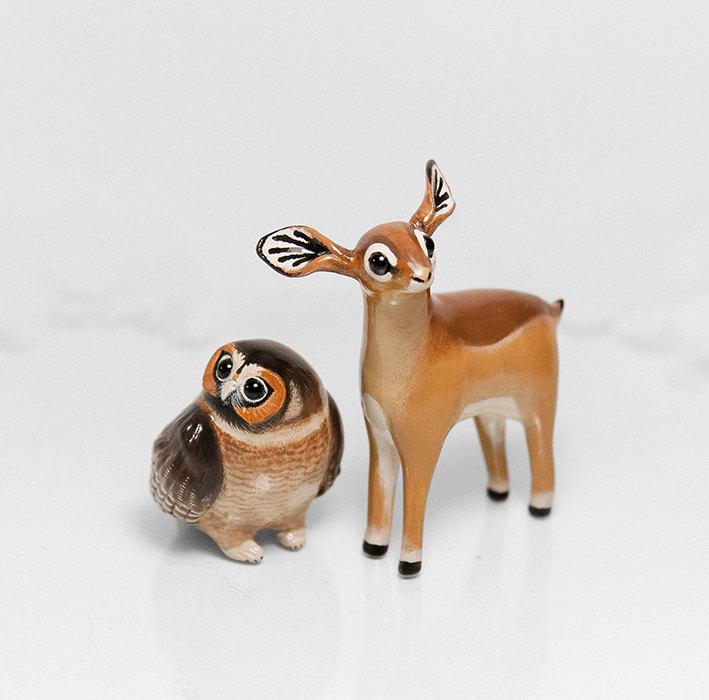 Gazelle and Owl Figurines by RamalamaCreatures