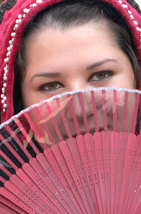 milady with a fan by darby