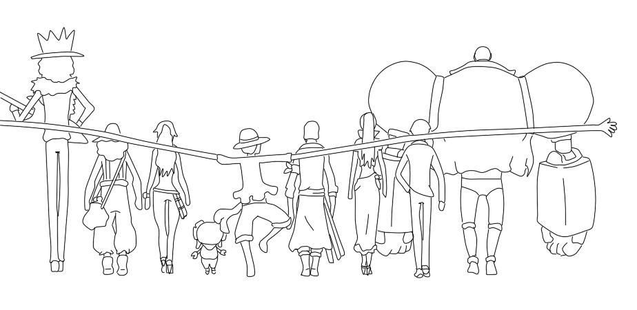 One Line Text Art Hug : Lineart one piece mugiwara s hug by slimehunter on