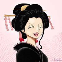 O-Robi (Nico Robin) smiling