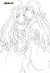 Yuuki and Asuna [Lineart]