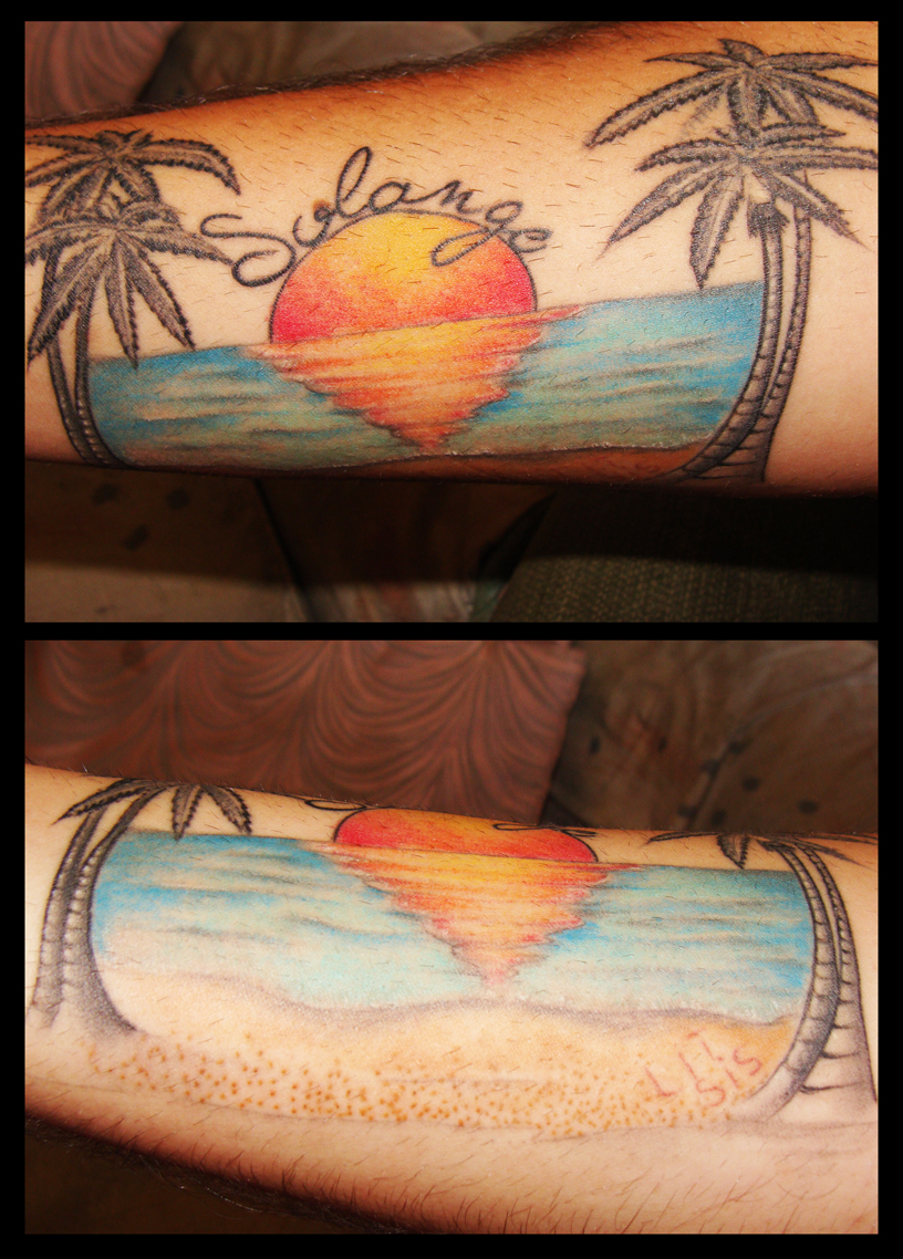 Palm beach sunset tattoo by alhiados on deviantart for Beach sunset tattoos