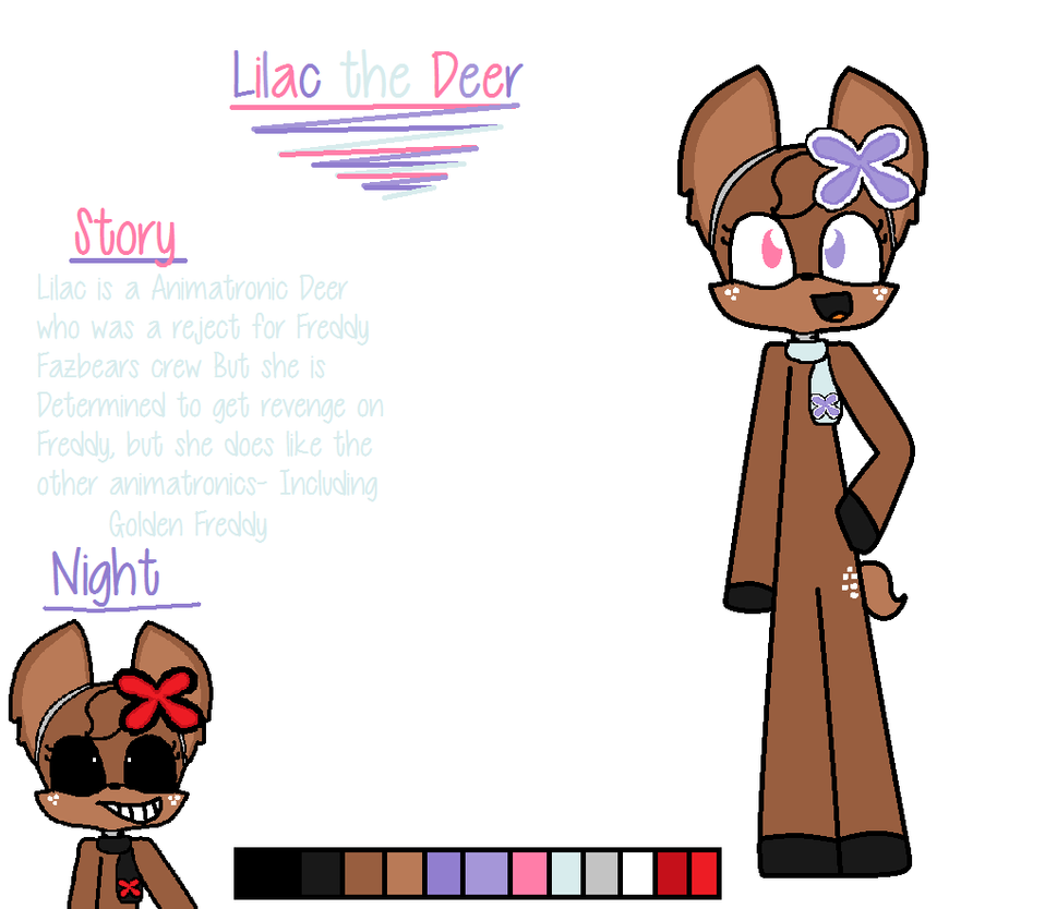 lilac fnaf oc zoom in to get good quality by xxcloverthecatxx