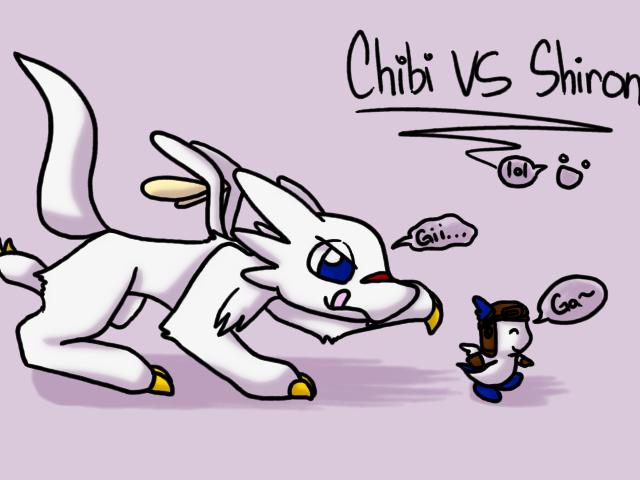 Chibi VS Shiron by cduki