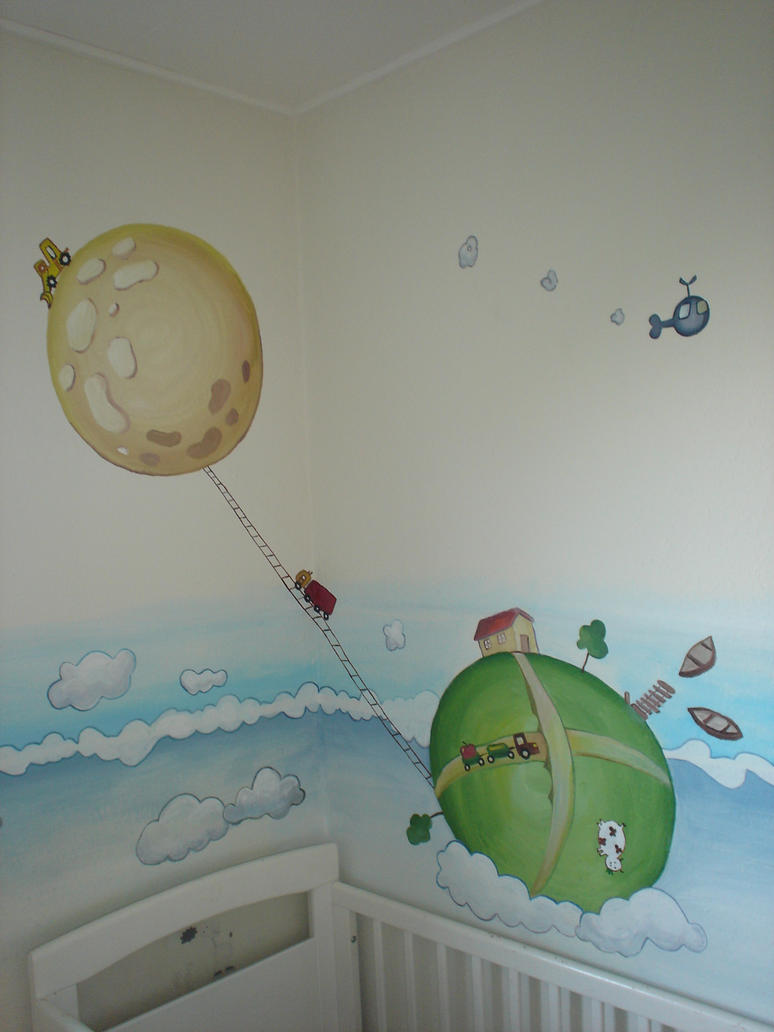 Clouds nursery wall mural by maggiewallpainting on deviantart for Clouds wall mural
