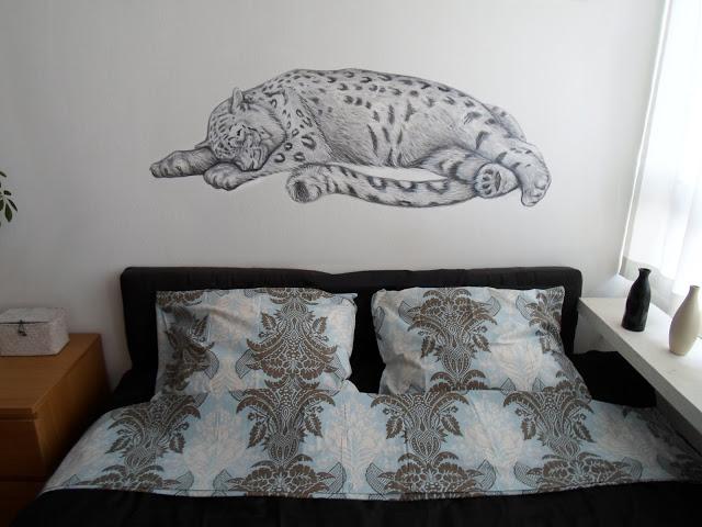 Sleeping Snow Leopard Bedroom Mural By MaggieWallPainting On - Bedroom mural